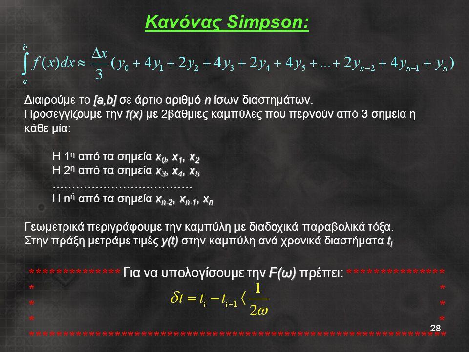 Κανόνας Simpson: Διαιρούμε το [a,b] σε άρτιο αριθμό n ίσων διαστημάτων.